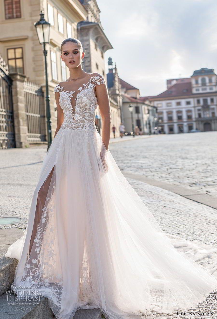 Wedding decorations beach december 2018 helena kolan  bridal cap sleeves deep plunging sweetheart