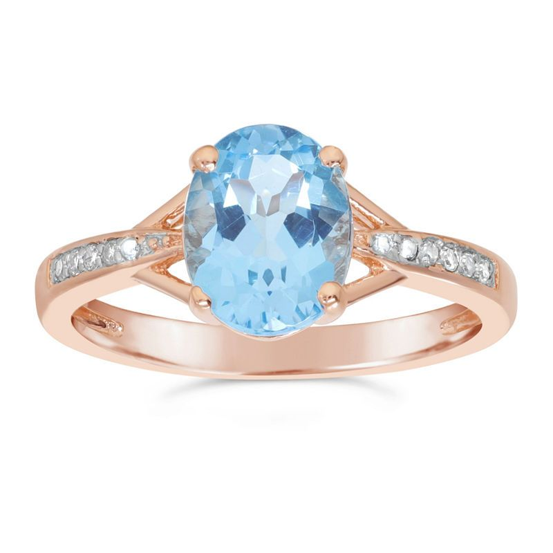 Womens Diamond Accent Genuine Blue Blue Topaz Gold Over
