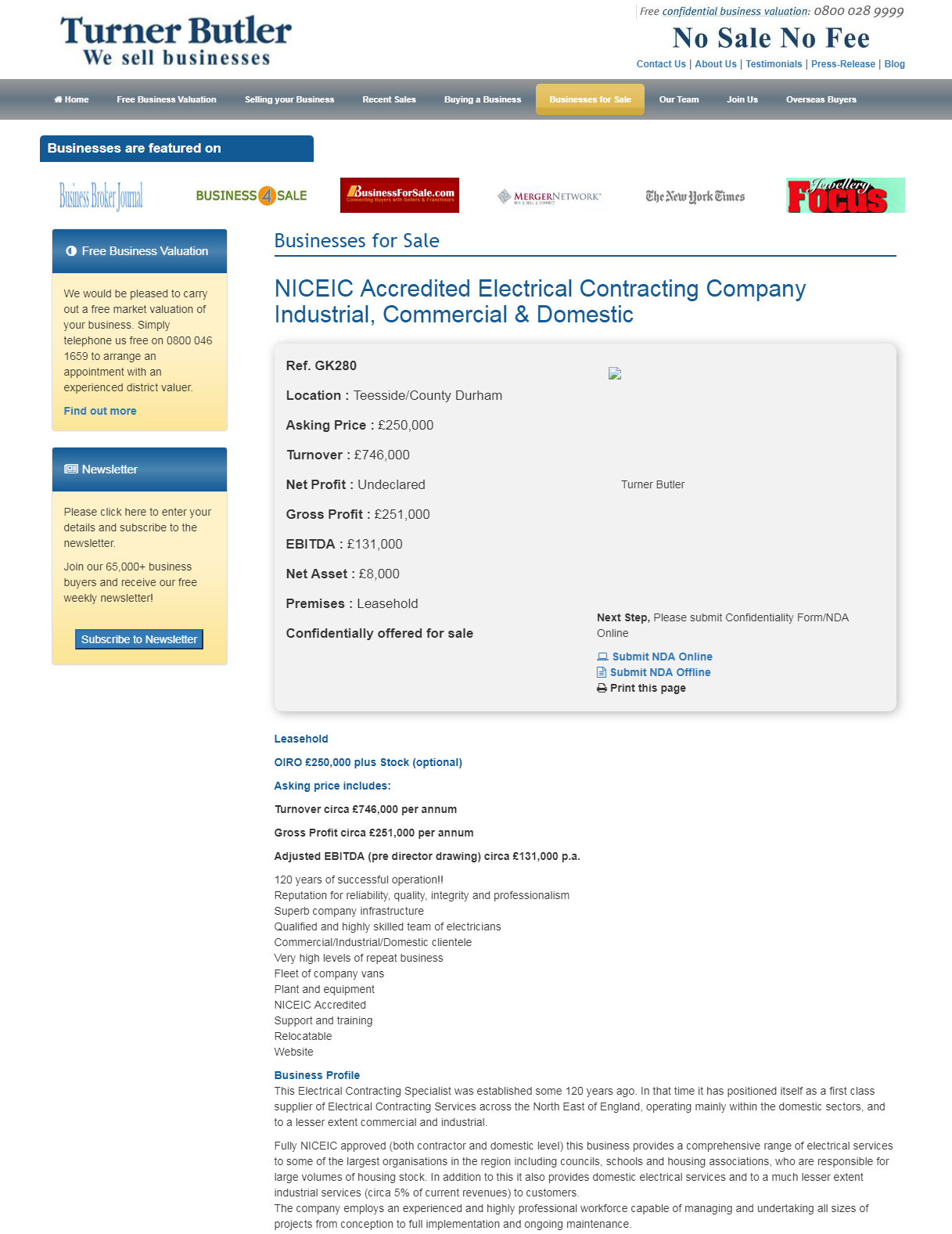Business For Sale Niceic Accredited Electrical Contracting Company