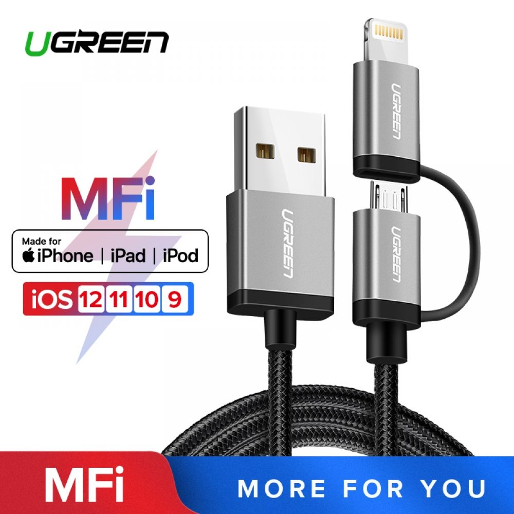 Ugreen 3 in 1 USB Cable for iPhone Xs Max 8 7 plus 2 4A Fast