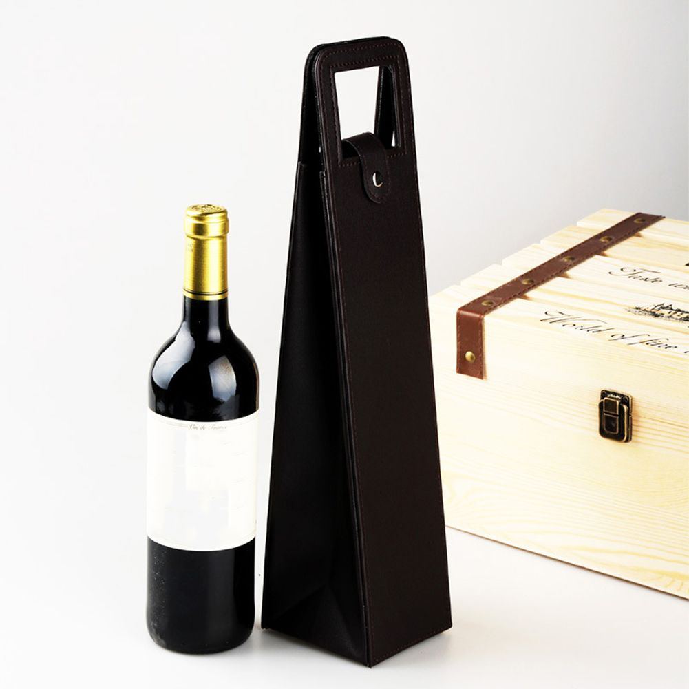 High Quality Single Manufacturers Custom Made Wholesale Wine Bag With Leather Tote Hollow Alppm Wine Bag Wine Bottle Bag Red Wine Bottle