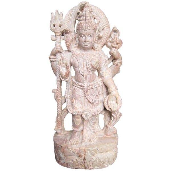 "Decorative 8"" Hand Carved Sculpture Shiva Parvati Ardhnarishwar Stone... (18,535 INR) via Polyvore featuring home, home decor, stone statues, stone home decor, stone sculpture and hand carved statues"