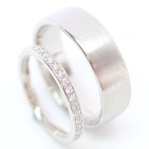 Platinum Diamond Set and Brushed Finish Wedding Ring Set Bespoke
