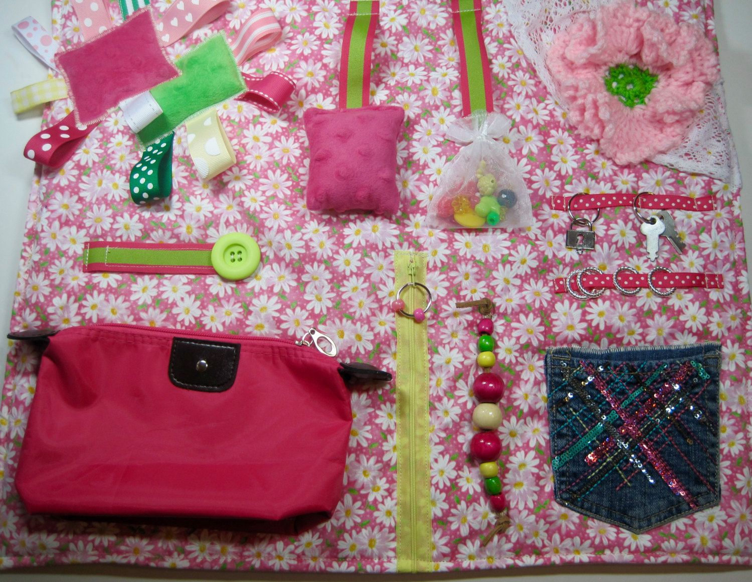 Daisies on pink quilt fidget sensory activity quilt blanket by