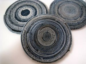 Denim coasters by IzzyBizzyBs via Etsy - love the colors and pattern!