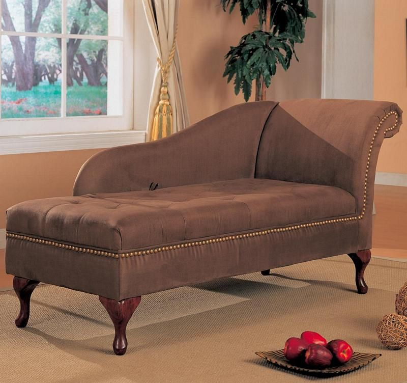 550068 Brown Microfiber Chaise Lounge Chair With Storage | New $699 SALE  $518.67 FRIENDS DISCOUNTED PRICE