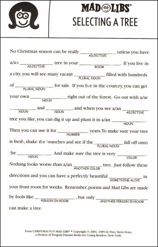 Clever image for christmas mad libs printable