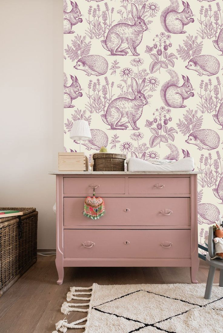 Fantasy Forest In Light Grayish Pink Wall Mural Forest Animals Wallpaper Hedgehog Squirrel And Rabbit Wall Decor Nursery And Room Decor With Images Pink Walls Wall Murals Wall Decor