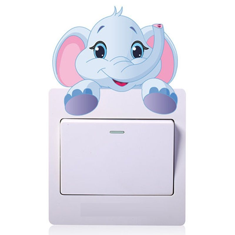 Lovely Elephant Switch Stickers Outlets Living Room Decoration - Vinyl-decals-to-decorate-light-switches-and-outlets