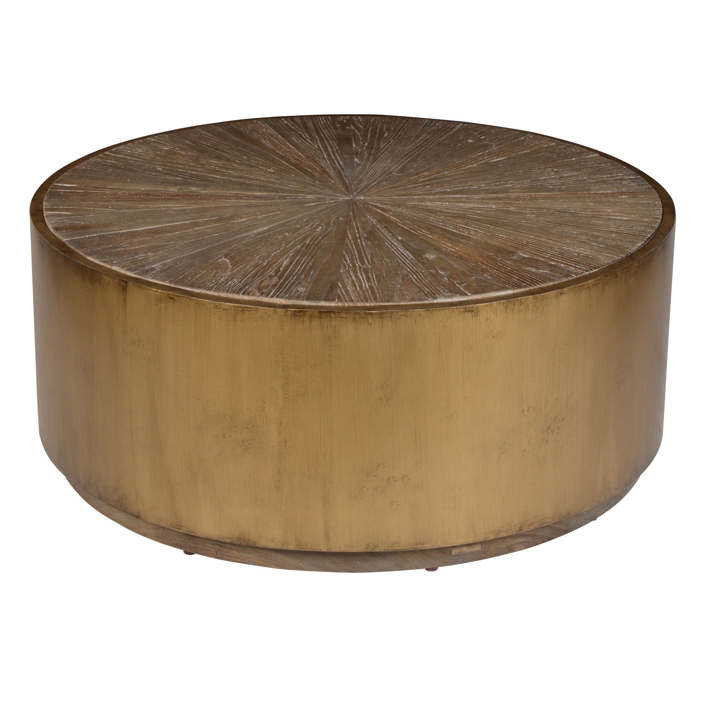 Salsbury Antique Gold Reclaimed Wood Coffee Table By Kosas Home Round