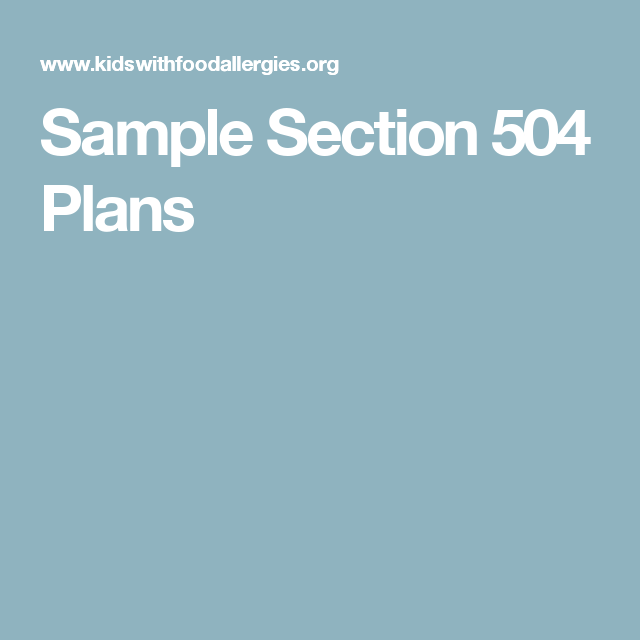 Sample Section 504 Plans | Peanut Free/Support | Pinterest | 504 ...