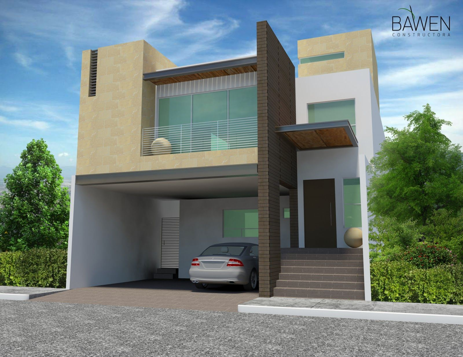 Renders fachadas casas modernas genuardis portal casa for Colores para casas minimalistas