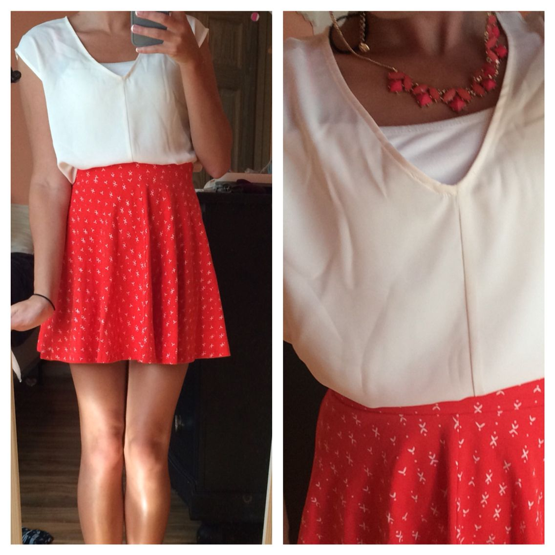 Red skirt statement necklace