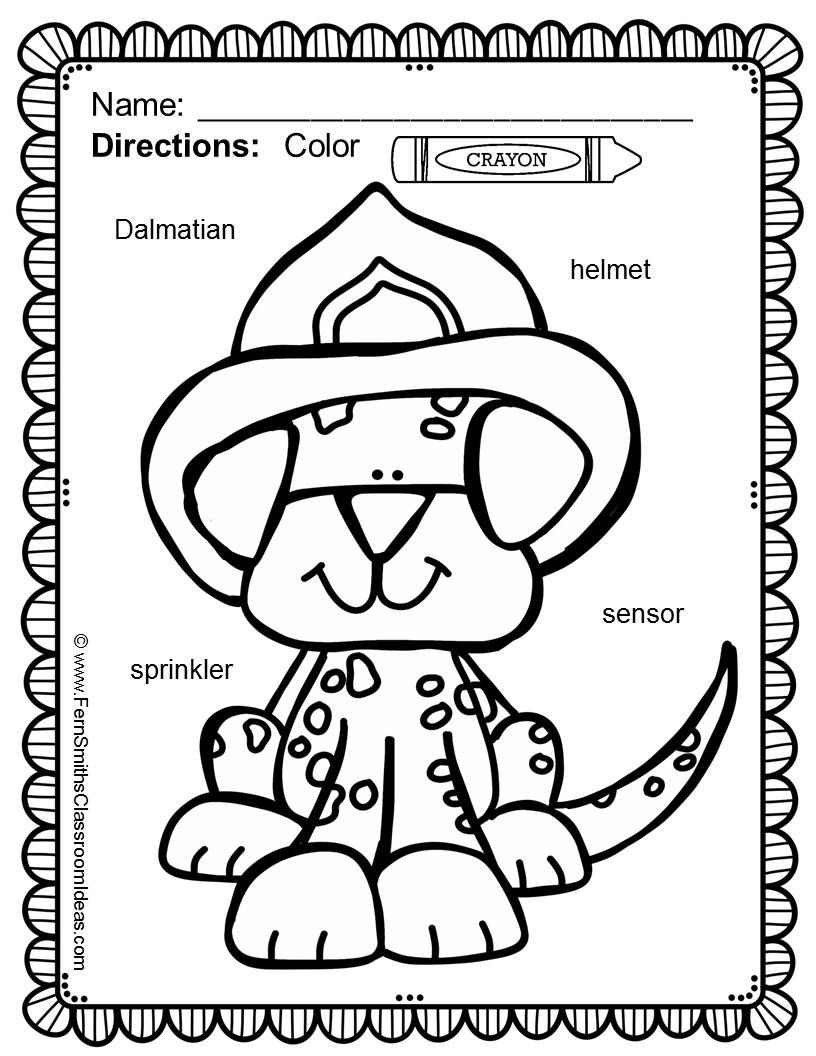 Fire Safety Coloring Pages with Differentiated Vocabulary