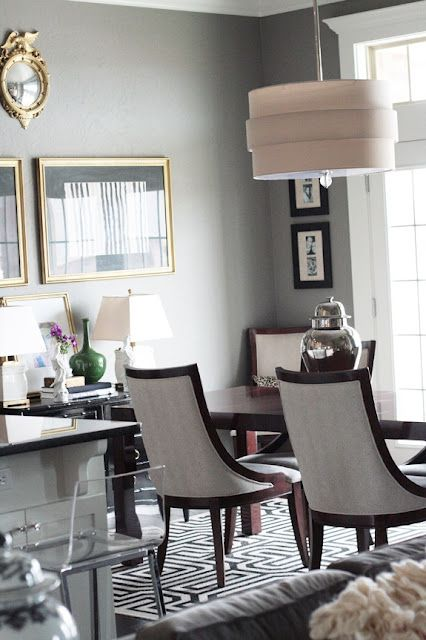 Dining Room Wall Color Gold Frames Black And White Accents I Like That Acrylic Bar Stool