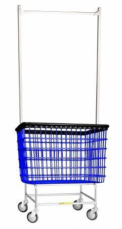 R B Wire 200h56 6 Bu Large Laundry Cart With Double Pole Rack By