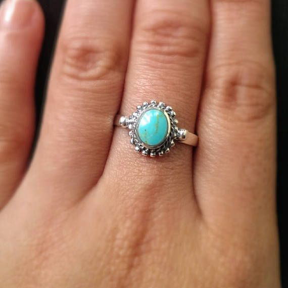 Turquoise ring - 925 sterling silver ring - turquoise jewelry - boho ring - bohemian ring - promise ring - December birthstone - dainty ring #Birthstone #Bohemian #Boho #Dainty #December #jewelry #Promise #Ring #silver #sterling #turquoise