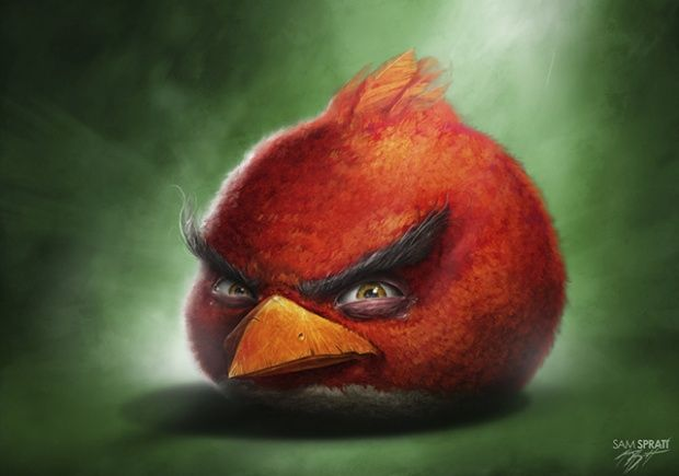 Realistic Angry Birds Illustrations by Sam Spratt