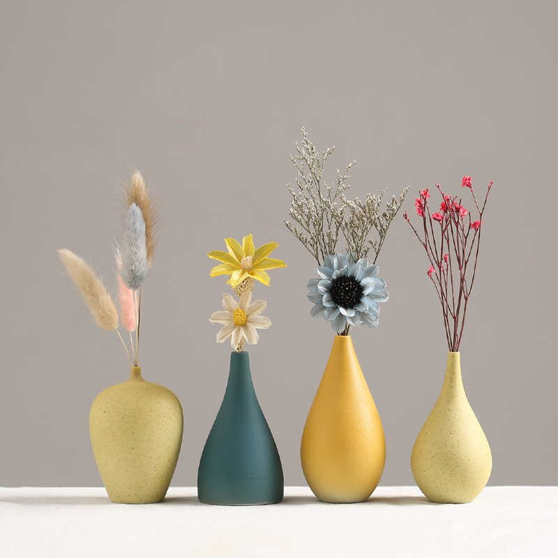 European Simple Ceramic Vase Yellow Porcelain Vases Small Flower
