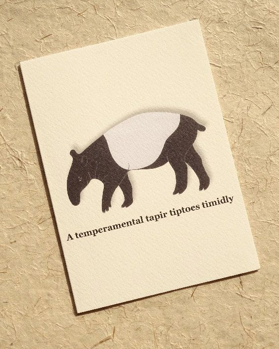 Welcome to Luck & Judgement's Alphabet Zoo – a wondrous A to Z menagerie of characterful beasts featuring the familiar, the fantastical and the downright fearsome. Our an... #etsyshop #tapir #nature
