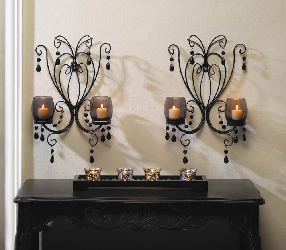Midnight Elegance Candle Wall Sconces | Interiors | Bathroom