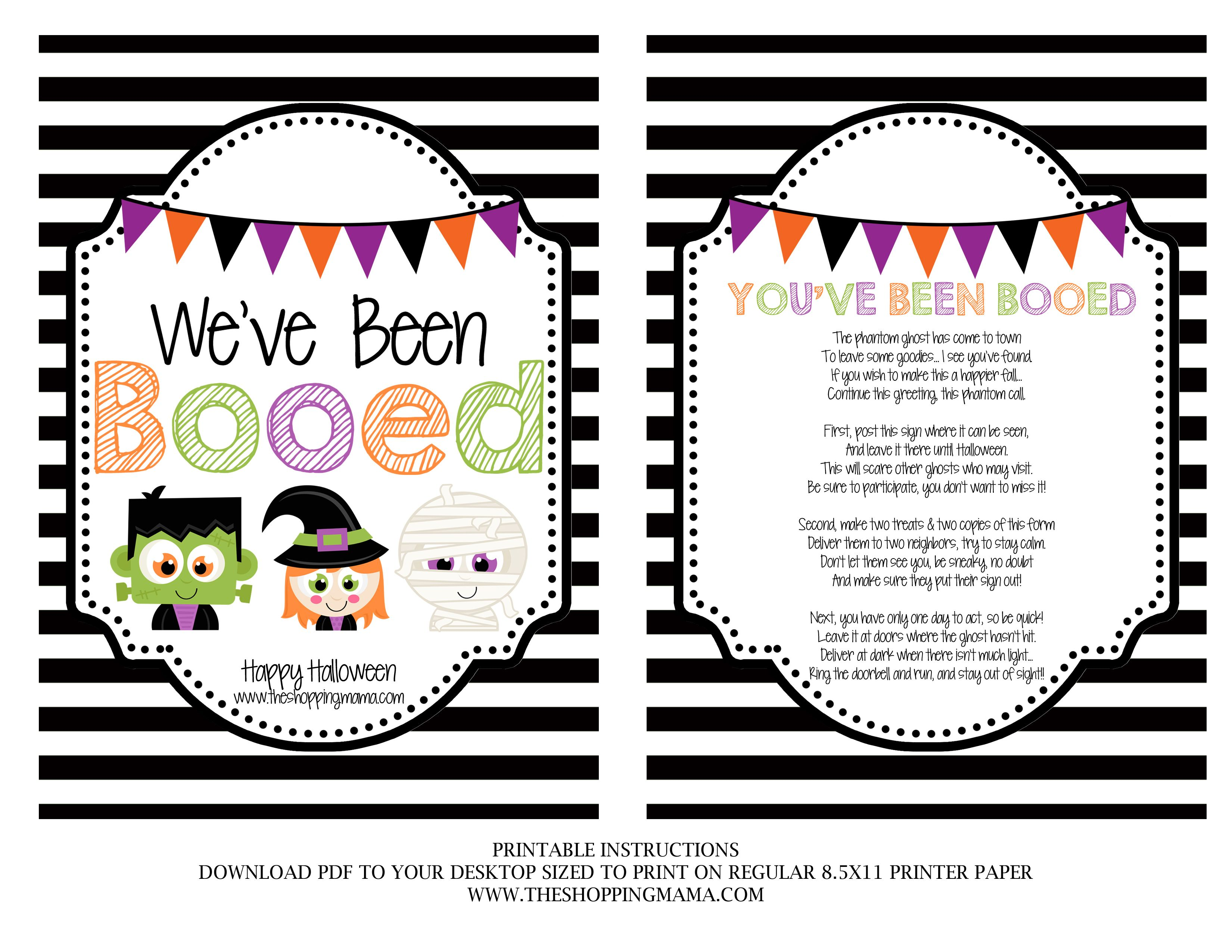 picture regarding You've Been Booed Printable named Weve Been Booed! Halloween Boo online games, Boo signal, Youve