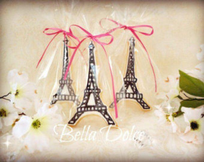Galletas París – Eiffel torre de regalos de aniversario de día de San Valentín – galletas de boda – cookies – 1 docena