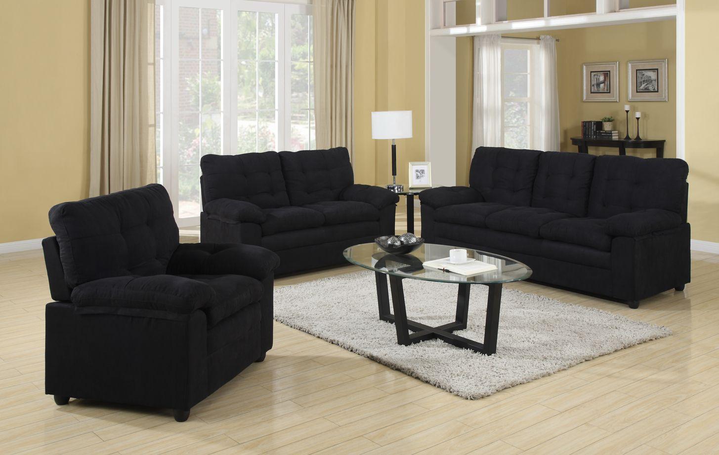Buchannan Sofa Set In Black Black Living Room