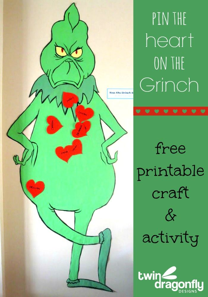 Beautiful Work Christmas Party Activity Ideas Part - 13: Pin The Heart On The Grinch Game · Work Christmas Party IdeasKids ...