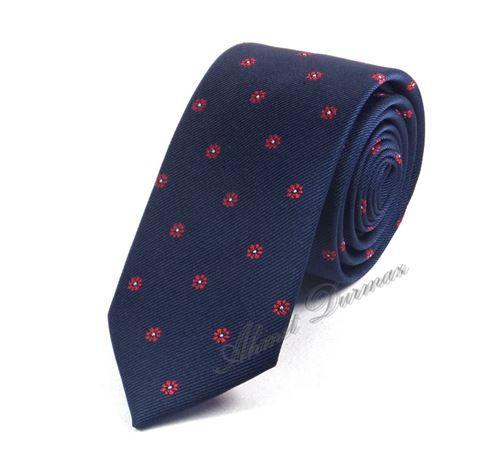 Lacivert Kırmızı Küçük Çiçek Desenli İnce Kravat 6219