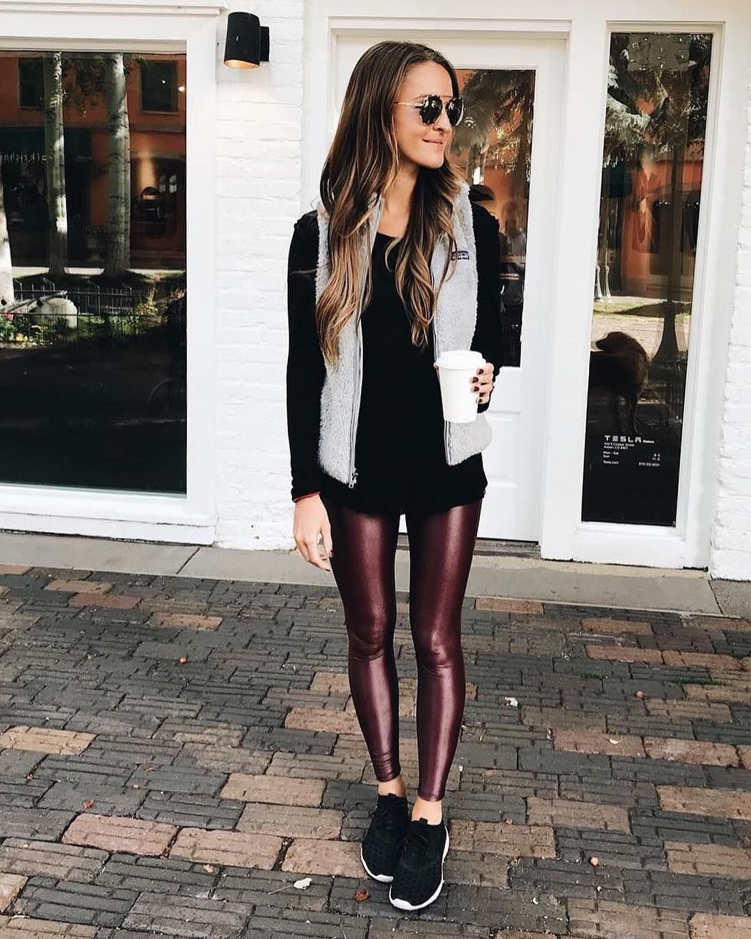 """a853030f9f71e6 Carbon38 on Instagram: """"The #Takara liquid legging in wine takes on cooler  temps ❄ @laurenkaysims"""""""