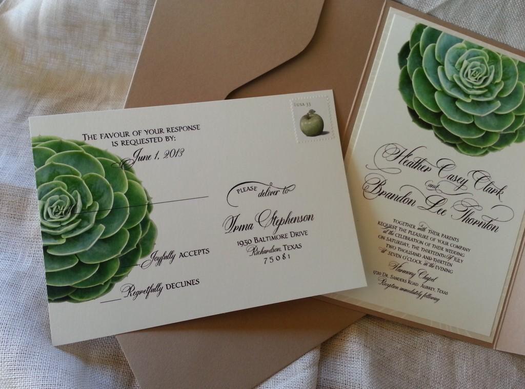 Succulent Wedding Invitation in Kraft Pouch Succulent wedding