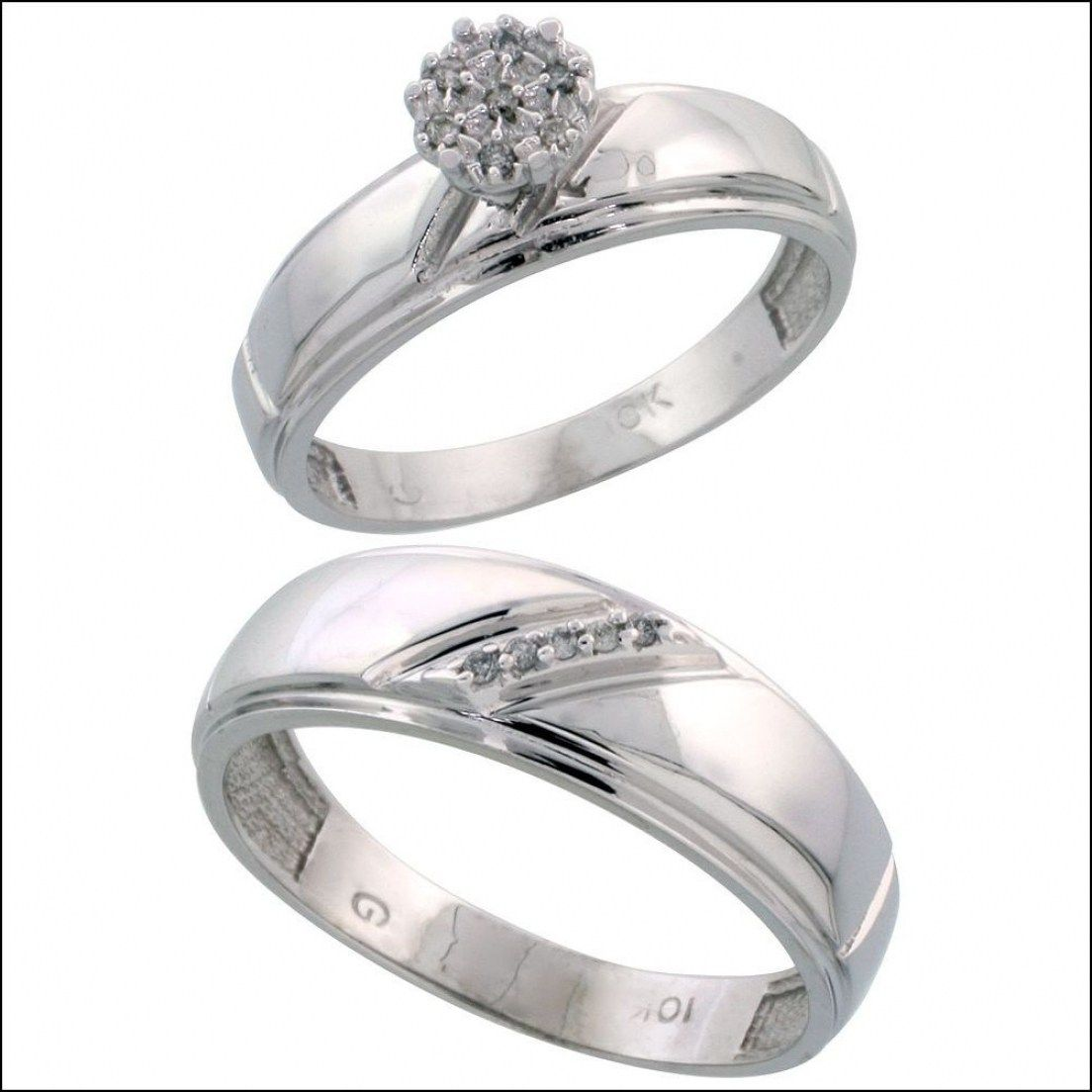 Home Engraved Men Women Sterling Silver Engagement Rings Set For Intended Wedding And