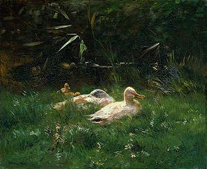 Eenden door Willem Maris 1844-1910.