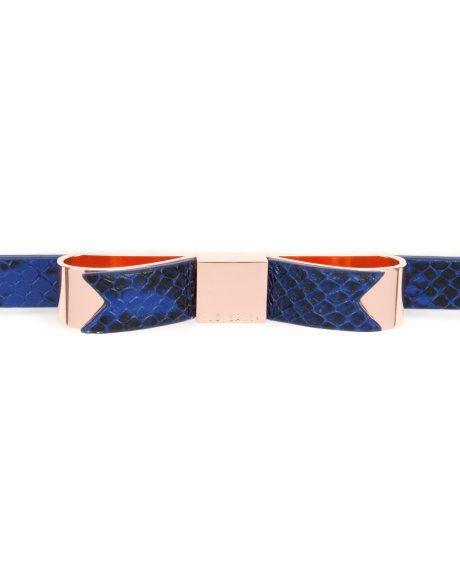 54e4f1577 Exotic skinny bow belt - Bright Blue