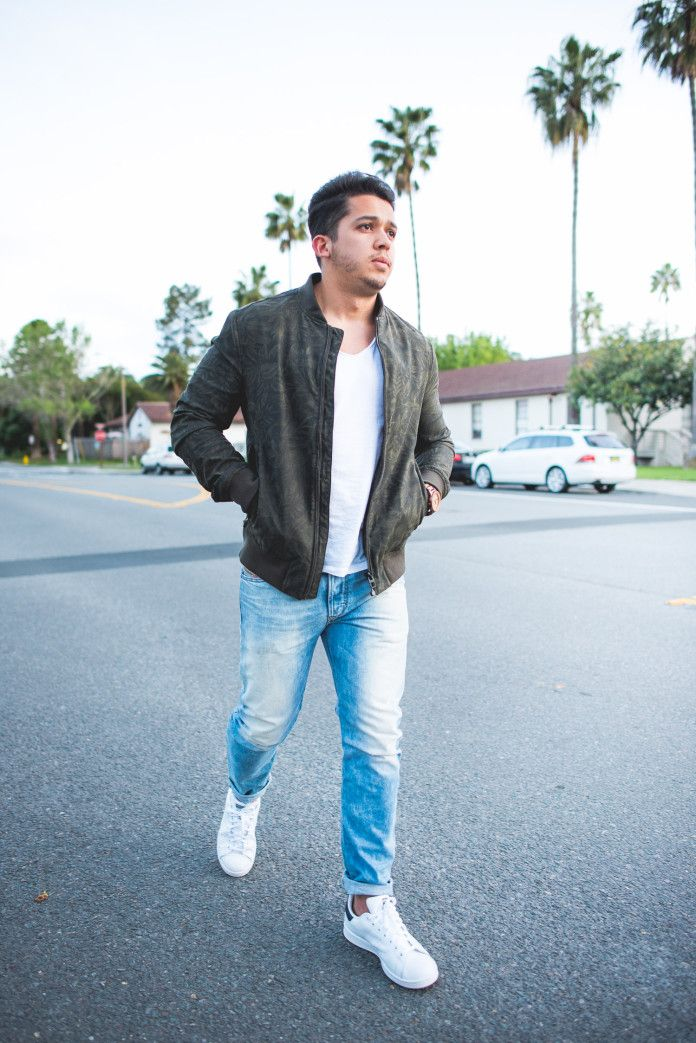Men S Outfit Idea Green Bomber Jacket Light Blue Jeans And White