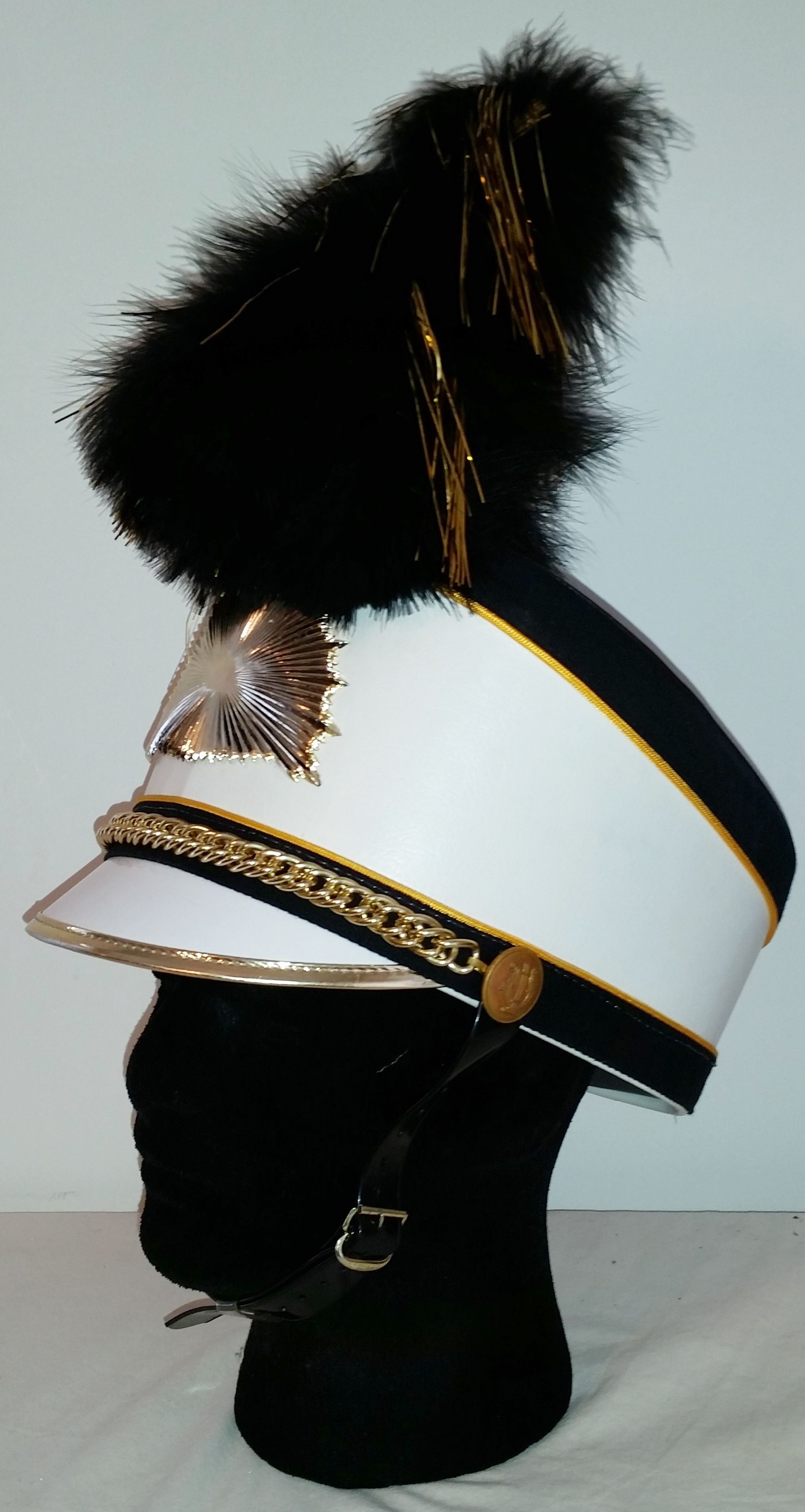 MARCHING BAND HAT w  plume DRUM MAJOR black white Gold Size Burke High Omaha 32a210e71d1