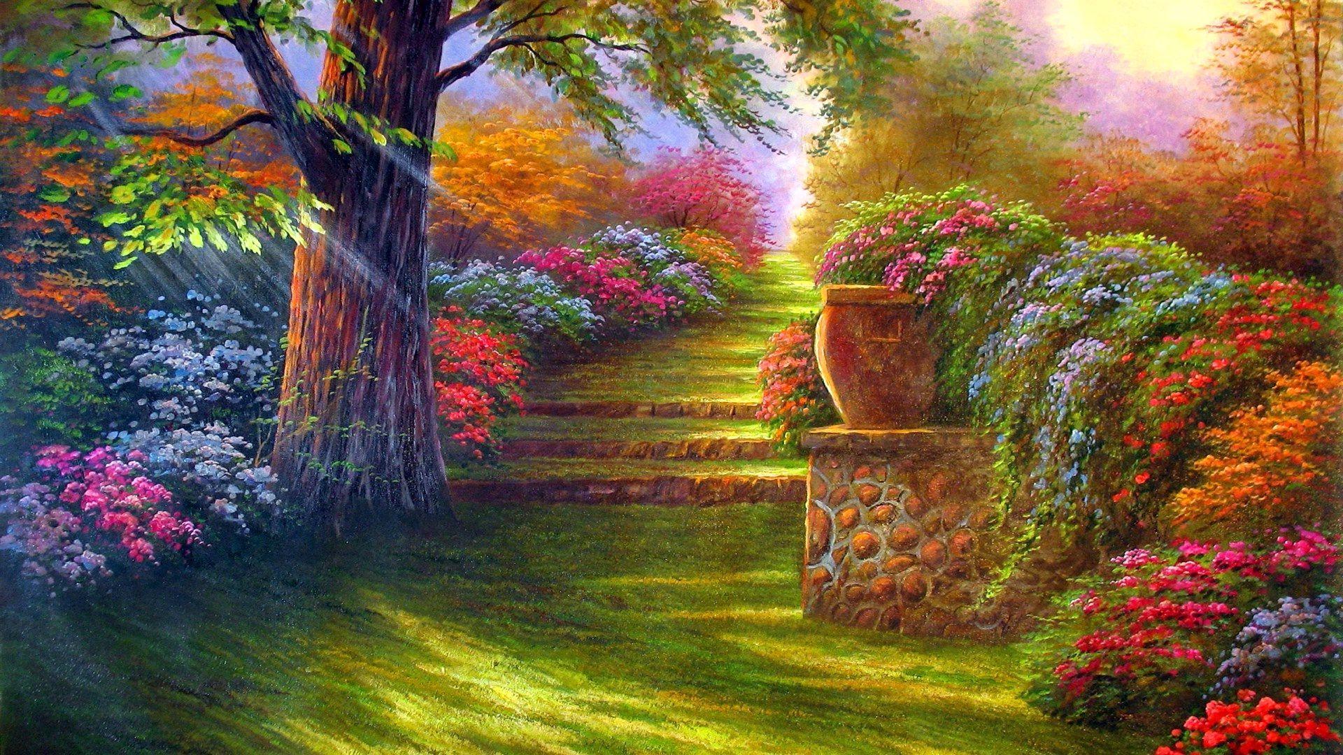 Flower Garden Photos Download Natural Flower Garden Wallpapers Landscape Wallpaper Garden Painting Nature Wallpaper