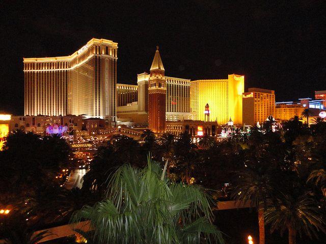Venetian and Harrah on the Las Vegas Strip.