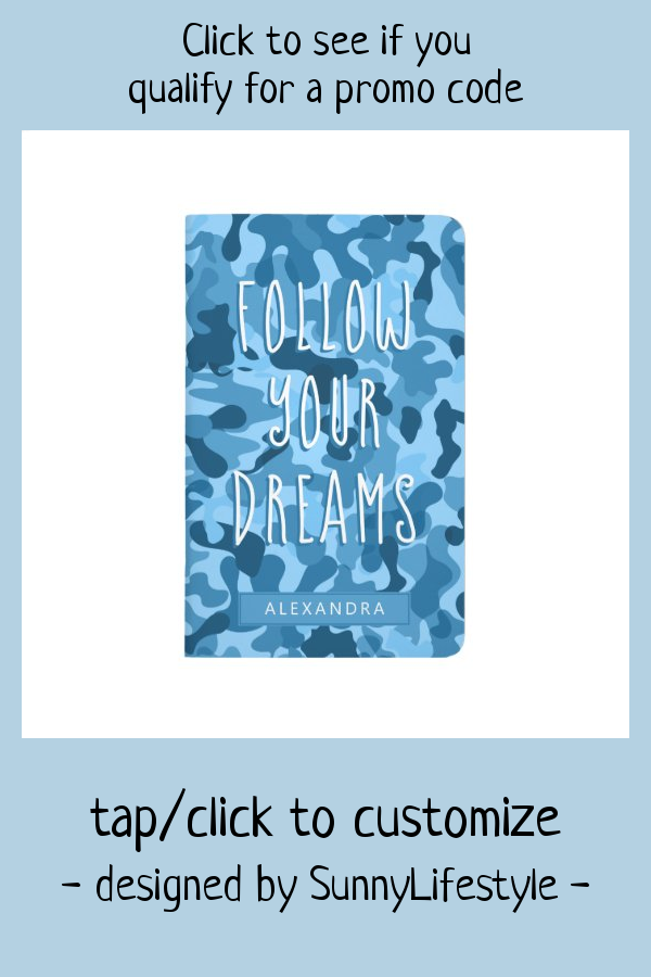 Blue Camouflage Follow Your Dreams 2020 Calendar Journal #camouflage #pattern #blue #motivational #quote #Journal