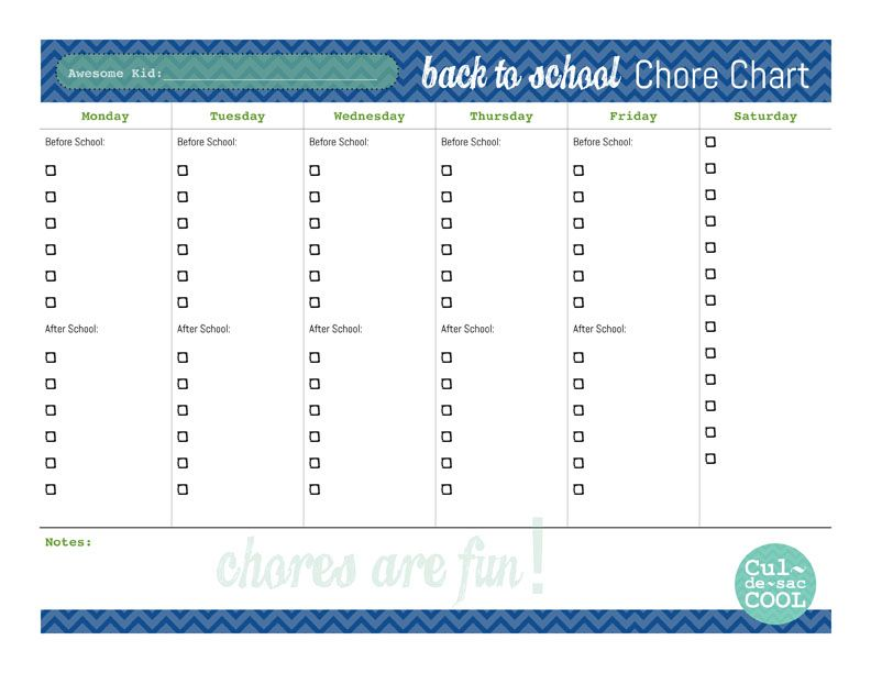 Diy Printable Back To School Chore Chart  CraftOMatic