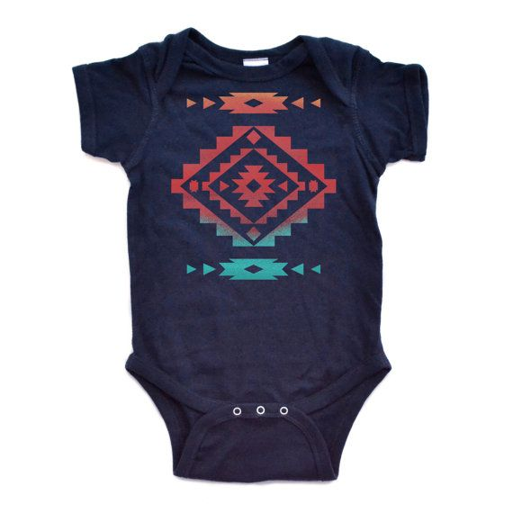 45fb8bee19e0 Cool Native American Aztec Southwest Indian Style Print Baby Bodysuit Great  Gift Idea Newborn Baby Infant Bodysuits Navy or White on Etsy, $12.99