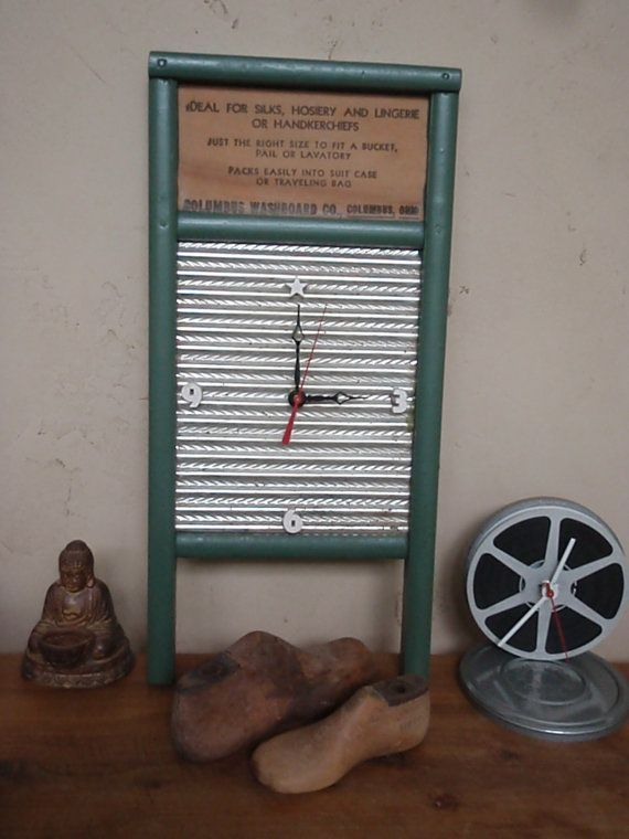 Vintage Washboard Clock Recycled And Repurposed Wash By