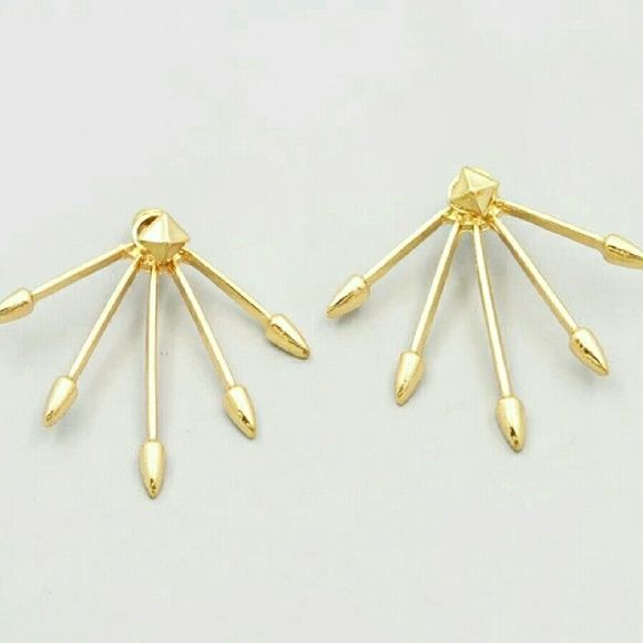 Pyramid gold spike rays earring jacket Gold plated rays of long spikes. Pyramid tiny stud earring jacket. Brand new. Jewelry Earrings