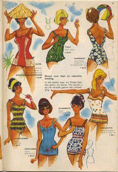 Vintage swimsuits. From the summer camping catalog of 1961