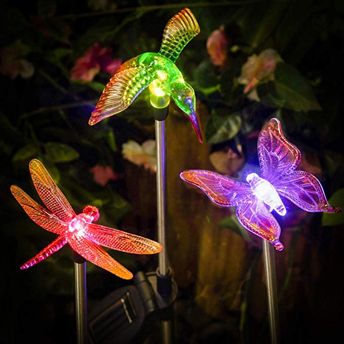 Amazon Com Polami Set Of 3 Garden Solar Lights Outdoor Stakes Led Color Changing Decor Statues Hummingbird Butterfly Dragonfly Decorative Wat