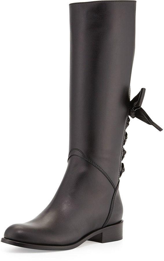 Valentino Ascot Ribbon Lace-Up Riding Boot, Black on shopstyle.com