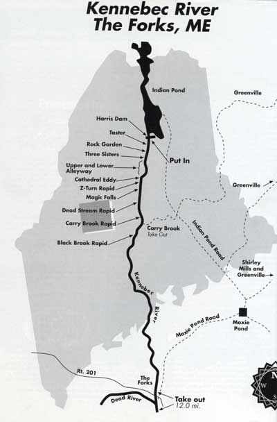 Downstream The Kennebec River ESB Dammed Maine Watershed - Map of maine rivers