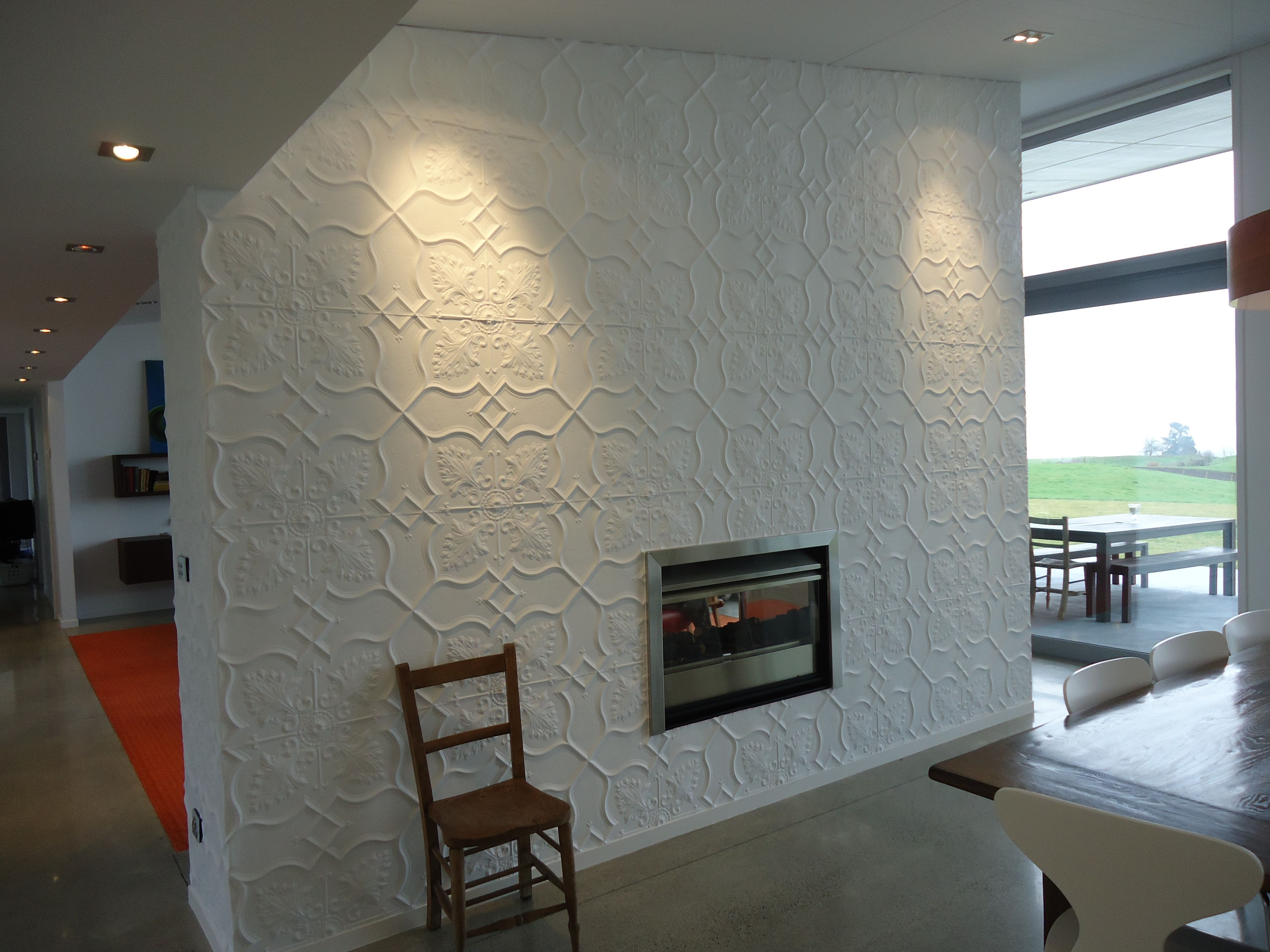 Pressed Tin Panel Feature Wall to create added texture to