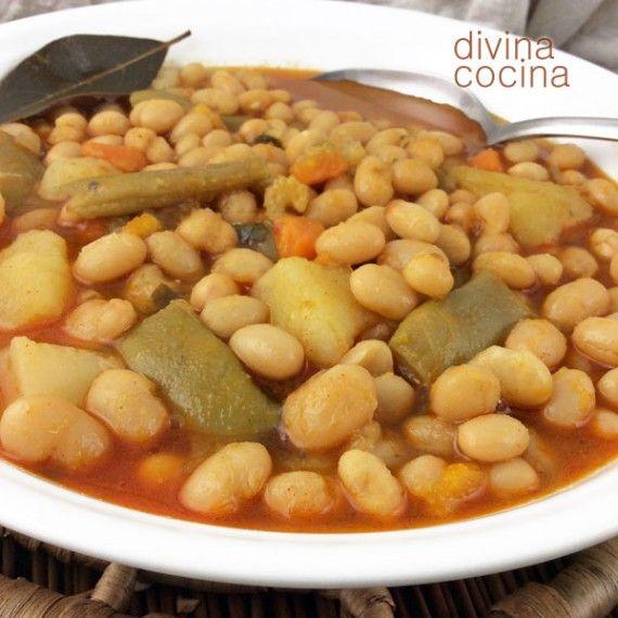 Receta de alubias con verduras pinterest alubias olor y dientes - Ensalada de judias pintas ...